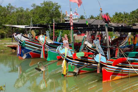 The Bangau Maritime Figureheads. Colorful pattern of traditional fisherman boats in Kelantan, Malaysia.  Standard-Bild