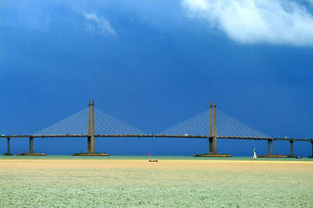 georgetown: The Penang Bridge, Malaysia is the longest bridge in south east asia   Stock Photo