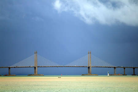 The Penang Bridge, Malaysia is the longest bridge in south east asia   Stock Photo