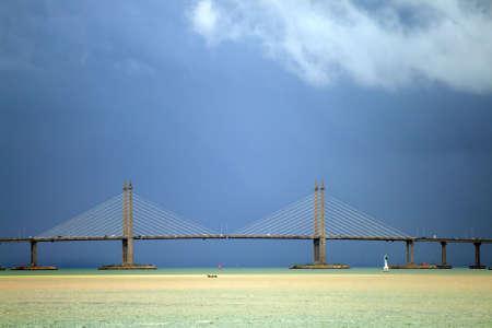 longest: The Penang Bridge, Malaysia is the longest bridge in south east asia   Stock Photo