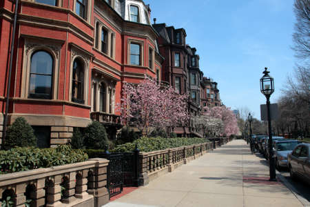 Back Bay and neighboring Beacon Hill are considered Bostons most upscale and desirable neighborhoods   Stock Photo