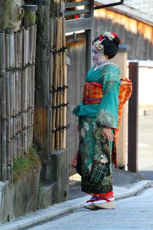 maiko: Maiko walking on a street (Kyoto, Japan)
