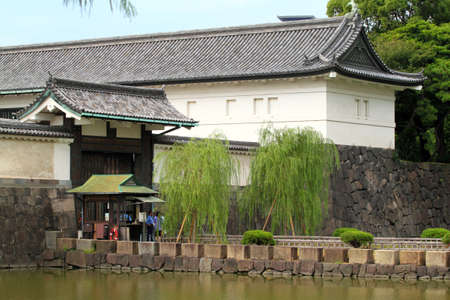 The current Imperial Palace (Kokyo) is located on the former site of Edo Castle, a large park area surrounded by moats and massive stone walls in the center of Tokyo