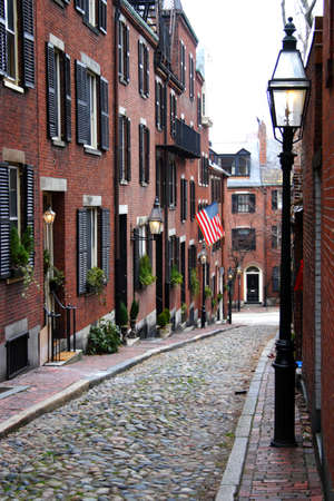 rowhouses: Beacon Hill is a wealthy neighborhood of Federal-style rowhouses, with some of the highest property values in the United States   Stock Photo
