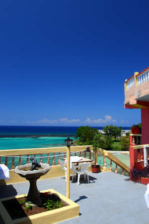 Ocho Ríos is a town on the northern coast of Jamaica, located in the parish of Saint Ann. It is a popular tourist destination, well known for scuba diving and other water sports  Stock Photo