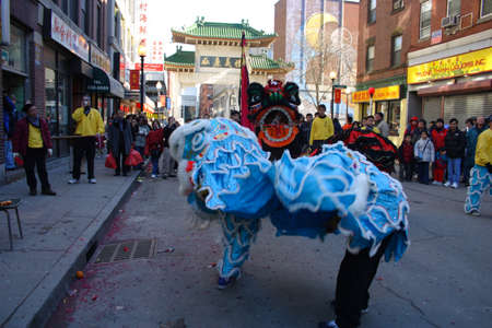 Lion dance in Chinatown, Boston during Chinese New Year celebration