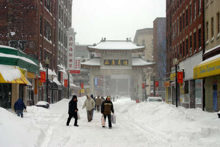 snowing winter at Boston, Massachusetts, USA