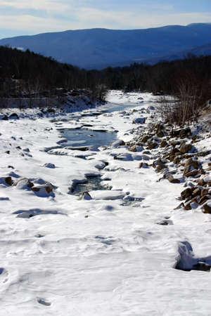 new path: Winter scene in New England, USA