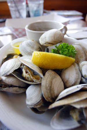 Bowl of Delicious Fresh Steamer Clams with Lemon and Broth   photo