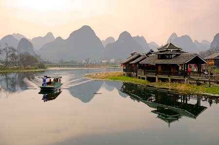 Landscape in Yangshuo Guilin, China Zdjęcie Seryjne - 30060483