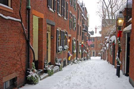 Stock image of a snowing winter at Boston, Massachusetts, USA photo