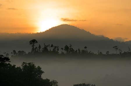 Stock image of foggy landscape photo