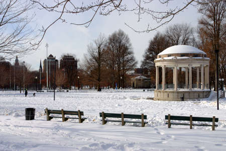 massachusetts: snowing winter at Boston, Massachusetts, USA