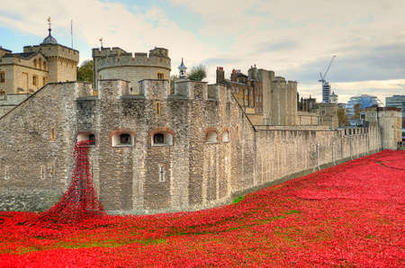 centenary: Tower of London with sea of Red Poppies to remember the fallen soldiers of WWI - 30th August 2014 - London, UK