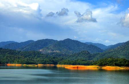 Scenery of man made lake at Sungai Selangor dam during midday.