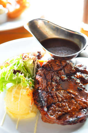 Roast steak with gravy sauce
