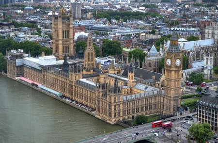 London Skyline landscape with Big Ben, Palace of Westminster, London Eye, Westminster Bridge, River Thames, London, England, UK. Stock Photo