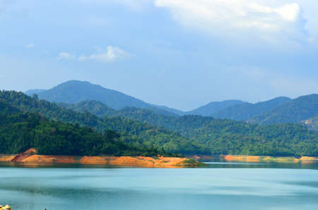Scenery of man made lake at Sungai Selangor dam during midday.