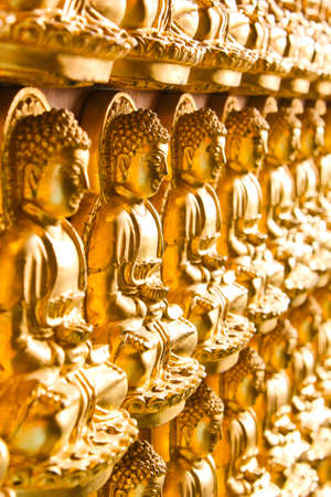 buddhist meditation: Golden Buddha background Stock Photo