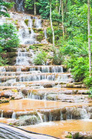Little waterfall in Thailand has many steps. photo