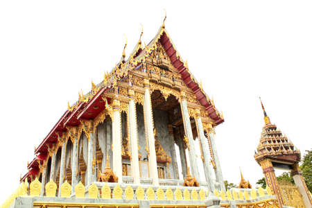 Golden Thai temple in Bangkok was constructed delicately. photo