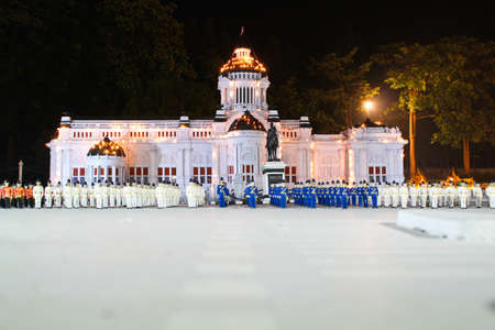 royality: Soldiers stand in row in front of Anantasamakom throne hall, Bangkok Thailand. This photo was taken from mini siam , Pattaya Thaialnd
