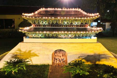 reproduced: CHONBURI, THAILAND - NOVEMBER 21: A mini Namdaemun, korea old gate, was reproduced to mini size in Mini Siam on November 21, 2011 in Chonburi, Thailand Editorial