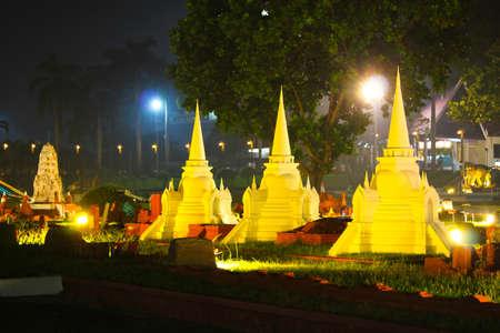 reproduced: CHONBURI, THAILAND - NOVEMBER 21: Three pagodas were reproduced to mini size in Mini Siam on November 21, 2011 in Chonburi, Thailand