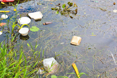 polluting: polluted water in Thailand from human behavior Stock Photo