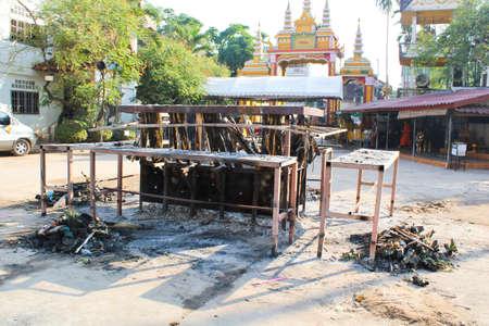 crematorium: outdoor crematorium in Laos temple