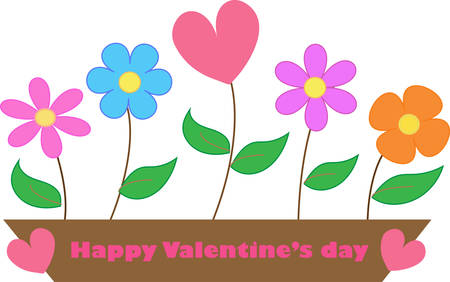 planted: colorful flowers are planted in flowerpot. Illustration