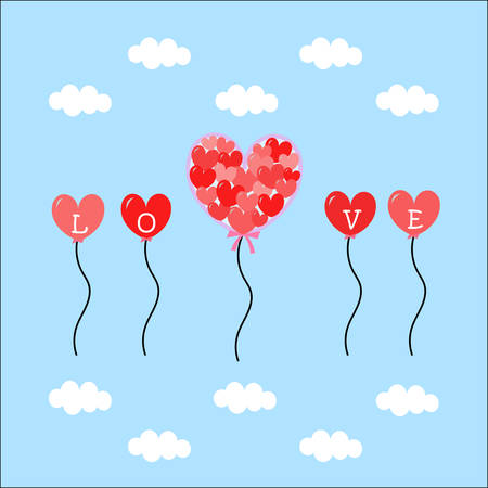 many heart shape balloons flying in the clear blue sky with tiny white cloud Vector