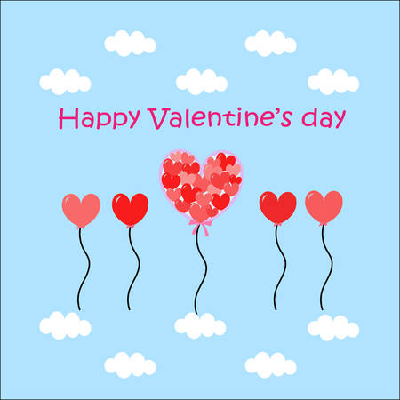 happy valentine with many heart shape balloons flying in the sky with tiny white cloud Vector