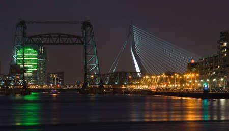 nightview: Nightview on Rotterdam with old liftingbridge and new bridge  Stock Photo