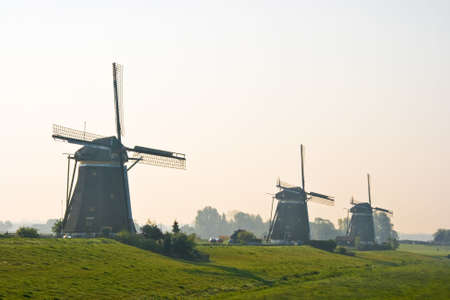 watermills: Three watermills after sunrise view from polder