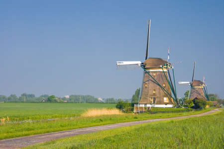 watermills: Two dutch watermills in polder landscape in spring
