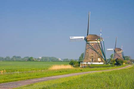 polder: Two dutch watermills in polder landscape in spring