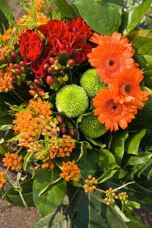 Bouquet of flowers in red, orange and green colors-vertical Stock Photo - 4862714