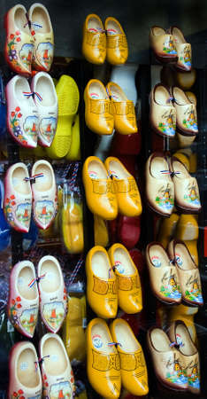 souvenirs: Window display with Dutch wooden shoes for sale as a souvenir Stock Photo