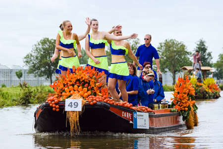 flower parade: WESTLAND,THE NETHERLANDS - AUGUST 2009: Fabulous decorated boats in the spectacular annual Westland Floating Flower Parade August 02, 2010, Maasland, the Netherlands.    Editorial