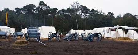 austerlitz: AUSTERLITZ, THE NETHERLANDS, OCTOBER 12, 2008 � History enthusiasts take part in the replay of the inspection of the troops by Louis Napol�on , king of Holland from 1806-1810. Camp before sunrise