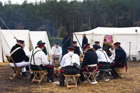 coffeetime: AUSTERLITZ, THE NETHERLANDS, OCTOBER 12, 2008 � History enthusiasts take part in the replay of the inspection of the troops by Louis Napol�on , king of Holland from 1806-1810. Coffeetime Editorial