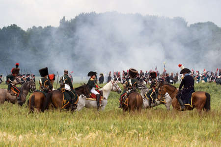 WATERLOO, BELGIUM, JUNE 21, 2009 - History enthusiasts from 24 countries  take part in the re-enactment of the battle of Waterloo that in 1815 ended Napoleons imperial dream. Napoleon