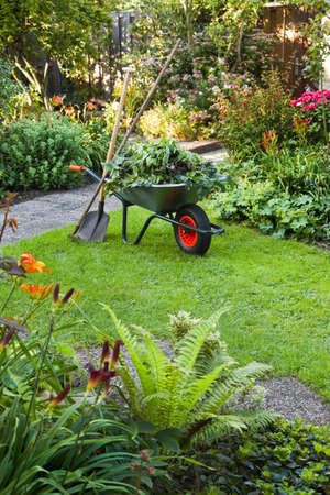 Evening after work in summer garden with wheelbarrow, shovel and rake - vertical