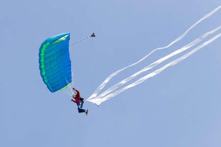 parachutists: VLAARDINGEN - MAY 05: On Liberation Day parachutists demonstrate jumping from airplane, August 05, 2011, Vlaardingen, the Netherlands