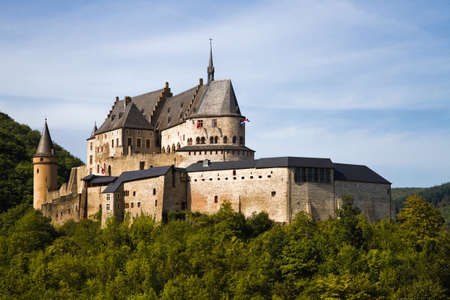 middleages: Medieval Castle Vianden, build on top of the mountain in Luxembourg or Letzebuerg Editorial