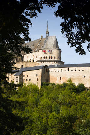 middleages: Vianden, Medieval castle on the mountain in Luxembourg or Letzebuerg, view through the trees - vertical image Editorial