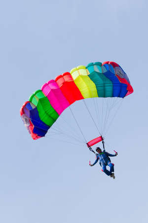 VLAARDINGEN - MAY 05: On Liberation Day parachutists demonstrate jumping from airplane, August 05, 2011, Vlaardingen, the Netherlands