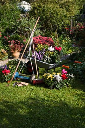 Wheelbarrow, grass mower, garden equipment, tools, preparing for planting new plants in the garden on early September morning