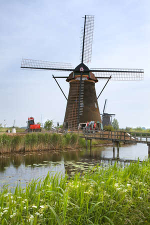 watermills: Restoration of historic windmill at Kinderdijk, the Netherlands.
